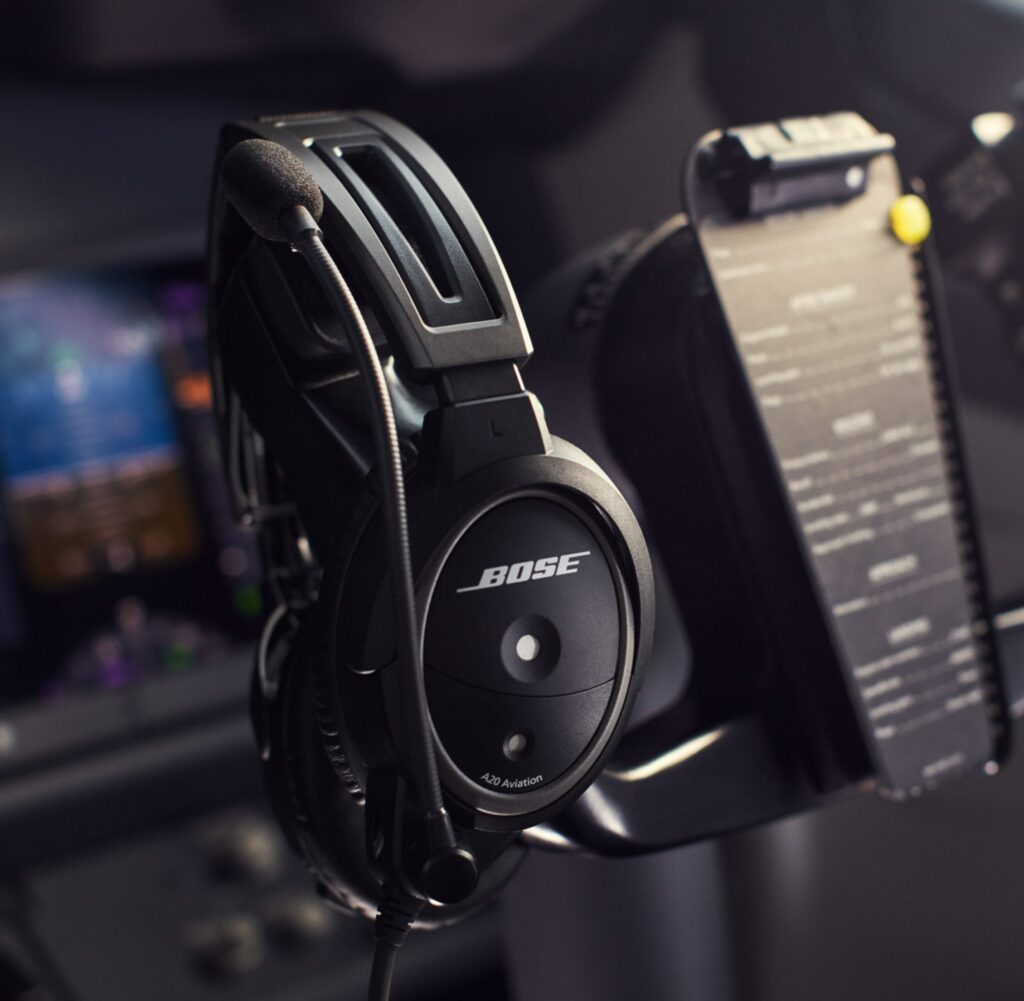 Inside cockpit, Bose A20 Headset
